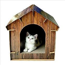 Pet Online Casa de gato juguete creativo papel corrugado de simulación ambiental de grano de madera junta arañazo de gato hut, 40,2 * 40,6 * 40cm