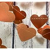 Girlande aus metallic kupferfarbenen Herzen, 1 Meter