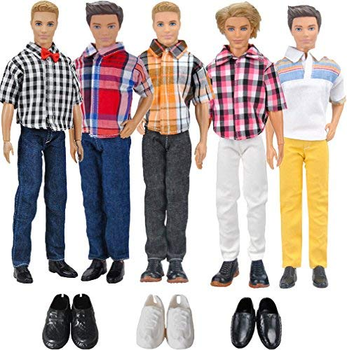 3 Top + 3 Pantalones + 3 Pares Zapatos 12 Inch Doll