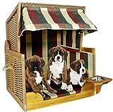 foolonli Hundestrandkorb Tier-Bett mit Wasser-NAPF Rattan Maritim Garten Haus Mehrfarbig Gestreift Strandkorb