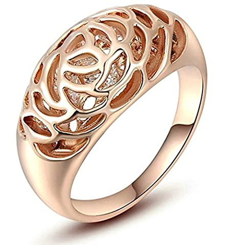 AnaZoz Fashion Jewelry Women's Ring Gold Plated Wedding Bands For Women CZ Color Rose Gold Ring for Women Ring Size N 1/2
