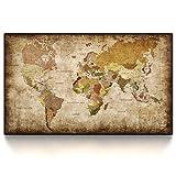 CanvasArts Weltkarte 14.4101 - Leinwand Bild auf Keilrahmen - Vintage, Grunge Style (120 x 70 cm, Einteilig)