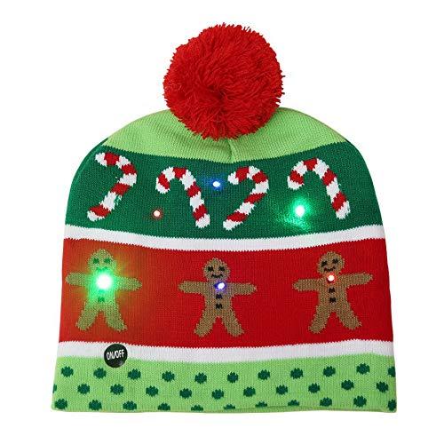 BEWISH LED Leuchten Strickmütze Beanie Mütze Wintermütze Hut Cap gestrickte Weihnachtsmütze Christmas Xmas Muster mit Fellbommel Light Up LED Knit Dekoration Disco Weihnachtsdekor