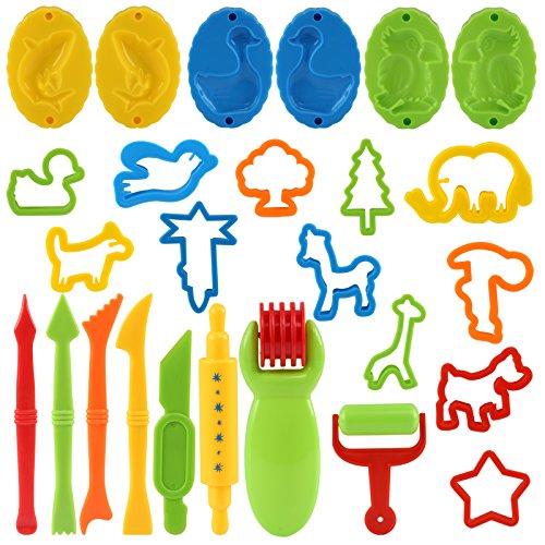 Kesote Conjunto de Herramientas de Plastilina 26 Accesorios y Herramientas de Colores con Formas de Animales Herramientas para Modelar Juguetes de Arcilla para Niños