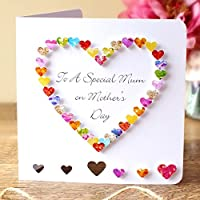 Hand Made Mothers Day Card - To A Special Mum - Colourful 3D Handmade Love Heart