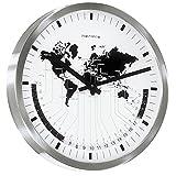 Hermle Wanduhr Quarz Edelstahl mit gewölbtem Frontglas Weltzeit-Anzeige