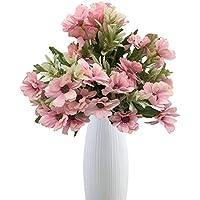 Live with Love 2 ramos de flores cosmos con 1 jarrón de cerámica blanca perfecto para