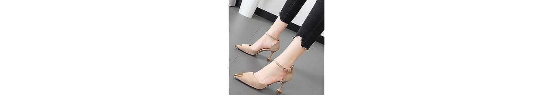 Xue Qiqi punta de la cabeza de metal fino con high-Heel Shoes hueco amarre ranurado delgado vídeo solo zapatos... -
