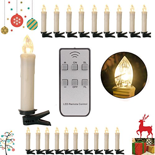 SPEED 20/30/40er LED Lichterkette Kabellos Weihnachtskerzen Christbaumschmuck Weihnachtsbaumbeleuchtung 40*milchweisse Hülle