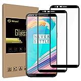 G-MOST OnePlus 5T Displayschutzfolie [2er Pack], 1+ 5T [Full selbstklebend] [Full Bildschirm Deckung] HD Tempered Glas Screen Cover Shield für OP 5T–Schwarz