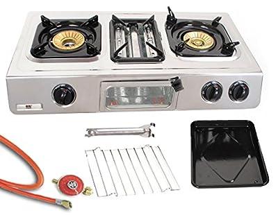 Edelstahl Gaskocher 3 flammig 9,7 KW Campingkocher mit Grill Ofen Gasgrill WOK Hockerkocher inkl. Gasschlauch-Regler Set von Nj bei Outdoor Shop