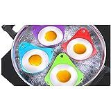 Set de 4 Molde Huevo, Ularma Silicona para Huevos Escalfados Cocidos Cocina perfecta poached huevos de colores Extra gruesa silicona Egg Poacher, Silicona Calidad Premium (color aleatoriamente)