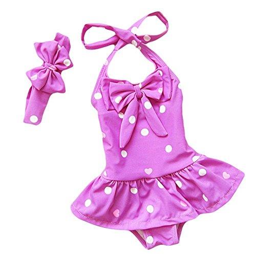 DQdq Baby Mädchen Badeanzug, Violett - Violett, S/1-2 Jahre