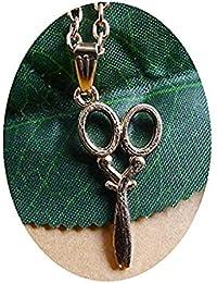 GYKMDF Collar de Oro, Tijeras, Collar de Costura, Collar de Estilo de Pelo