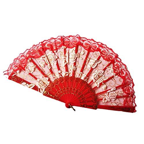 Kviklo Handfächer Folding Mesh Fächer Blume Kunststoff Stoff Kostüm Party Hochzeit Chinesisch/Japanisch Fan - Fähre Kostüm