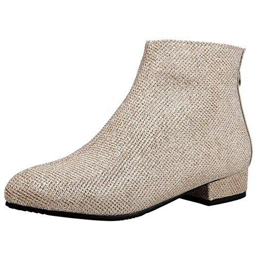 Coolcept Women Elegant Low Heel Ankle Dress Boots with Back Zipper