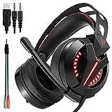 PC Gaming Headset,3.5mm Stereo USB-LED-Kopfhörer mit Omnidirektional Mikrofon, Lautstärkeregelung für Computer Laptop Mac Playstation 4