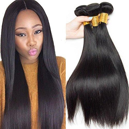 SHKY Brasilianische Jungfrau Straight Hair 3 Bundles Top Grade 8A Unverarbeitete 100% Menschenhaar Natürliche Farbe Mixed Länge Human Hair Extension 100g / Bundle , 200 cm bed queen