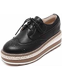Mujer Acento Irlandés Plataforma Zapatos Planos Otoño Británico Estilo De La Universidad Encaje Zapatos ( Color...