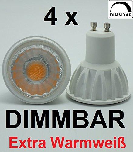 4 x DIMMBARE 5 Watt LED-SPOT EXTRA WARMWEISS 2200K, GU10, Retrofit, ~450 Lumen entspricht 40 W Halogenspot, 60° Ausstrahlung, ideal für Gastronomie aber auch hervorragend für Wohnzimmer, Schlafzimmer, Partykeller - dezentes, sehr angenehm warmes Licht!