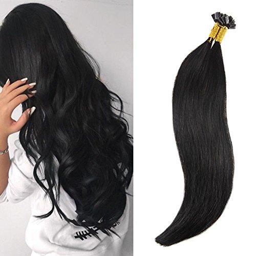 Ugeat Flat Tip Extension de Cheveux Humains Naturel Pose a Chaud 1g/meche 50gramme Bresilien Remy Cheveux Raides 16 Pouces 1# Noir de Jais