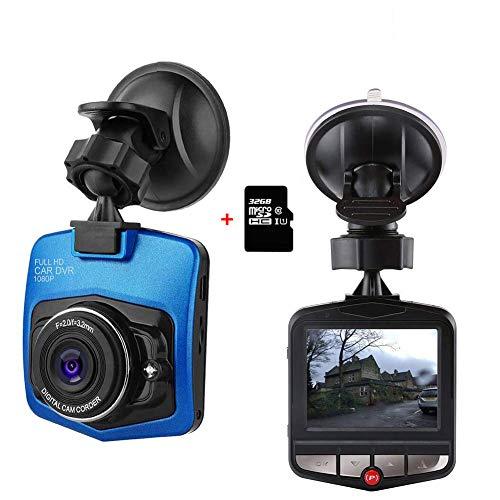 ZIHENGUO 2,4'LCD Mini Dash Cam, 1080P FHD-Auto-DVR-Armaturenbrett-Kamera-Videorecorder mit Nachtsicht/G-Sensor/Loop-Aufnahme, inklusive original 32GB TF-Karte,Blue