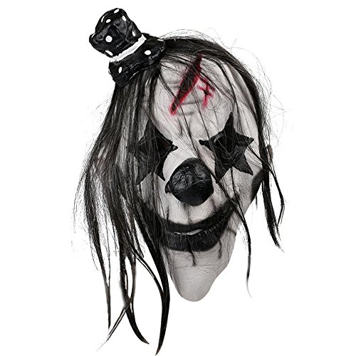 een Maske Scary Clown Latex Gummi Voll Kopf Maske für Halloween Kostüm Party, Schwarz Weiß (Scary Halloween Clown)