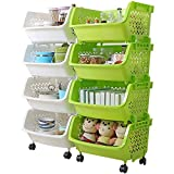 AJ 4 Tier Storage Stacking Bins, Household Kitchen Plastic Stackable Vertical Storage Organizational Bins Vegetable Fruit Food Storage Basket Rack Organizer, AJ9001G+4