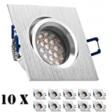 10er LED Einbaustrahler Set Bicolor (chrom / gebürstet) mit LED GU10 Markenstrahler von LEDANDO - 5W - warmweiss - 60° Abstrahlwinkel - schwenkbar - 50W Ersatz - A+ - LED Spot 5 Watt - Einbauleuchte LED eckig