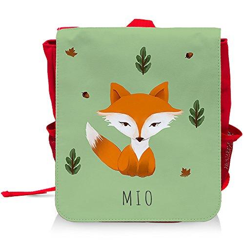 Kinder-Rucksack mit Namen Mio und schönem Motiv mit Aquarell-Fuchs für Jungen