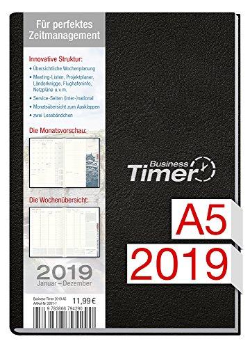 Chäff Business-Timer A5 Kalender 2019 schwarz, 12 Monate Jan-Dez 2019 - Terminkalender mit Wochenplaner - Organizer - Wochenkalender - Kalendarium für Projektplanung 2019
