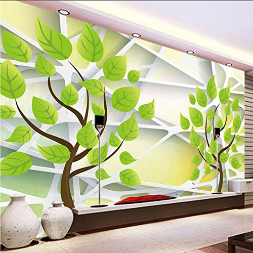 Dalxsh foto wallpaper 3d stereo relief abstract green tree geometry linea murale modern simple living studio office-400x280cm