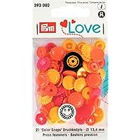 prymlove a forma di fiore Bottoni colorsnaps Chiusure a scatto, plastica, giallo/rosso/arancione, 13,6mm, 30