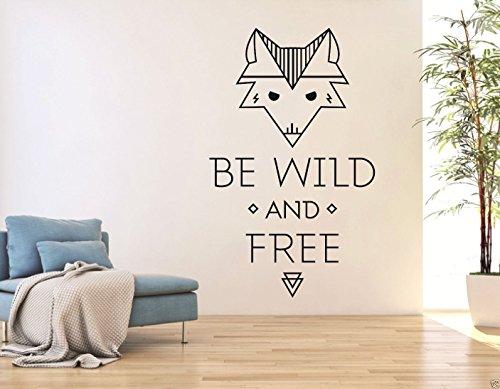 tjapalo® S-pkm34 Wandtattoo englisch spruch be wild and free Wohnzimmer Dekoration Flur Wandaufkleber Fuchs sei wild und frei (Höhe 58 x Breite 27 cm)