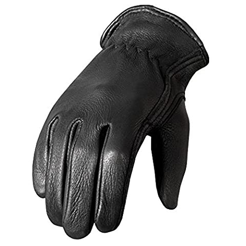Hot Leathers Classic Deerskin Unlined Driving Gloves (Black, Medium) by Hot Leathers