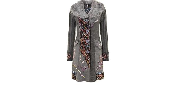 Stella Morgan Izabel Grey Embroidered Faux Fur Cardigan