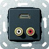 GIRA Schalterserien HDMI + 3.5mm Negro - Toma de corriente