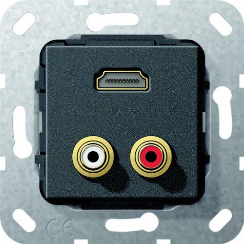 GIRA SCHALTERSERIEN HDMI + 3 5MM NEGRO - TOMA DE CORRIENTE
