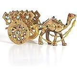 Fashion Bizz Home Decorative Rajasthani Gemstone Studded Brass Camel Handicraft Figurine with Antique Handmade Stone Work (Go