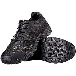 FREE SODLIER Caminando Hombres Zapatos de Montaña de Senderismo Calzado Transpirable Deportes al aire libre Escalada Zapatillas, Camuflaje Negro, 43