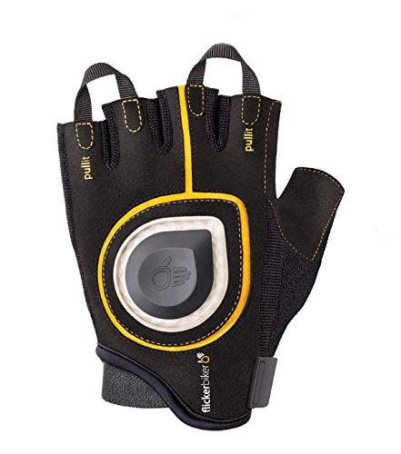 Flickerbiker Fahrradhandschuh mit LED Richtungsanzeiger, LED Signal Bike Gloves (Gelb/Schwarz, X-Large)