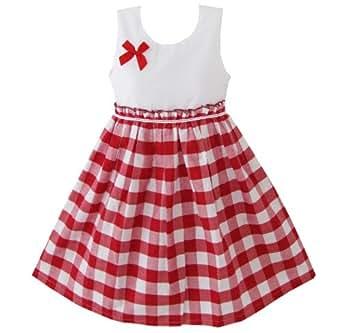 Sunny fashion vestito a quadri bambina rosso amazon for Amazon abbigliamento bambina