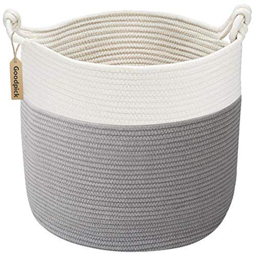 INDRESSME Goodpick Cotton Rope Basket with Handle for Baby Laundry Basket Toy Storage Blanket Storage Nursery Basket Soft Storage Bins-Natural Woven Basket, 15 ' × 15 ' ' × 14.2 ' ' (Toy Storage Bin)
