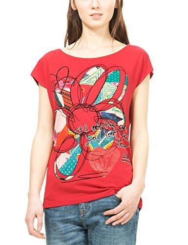 Desigual TS_CRISTINA, T-Shirt Donna, Rosso (Scarlet Sage 3190), 36 (Taglia Produttore: M)