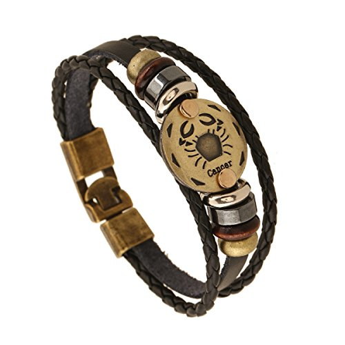 Preisvergleich Produktbild Kreis Lederarmband Armband Unisex Mode Multi Strand Echtleder-Armband Stammes-geflochtenen Seil Wulstiger Krebs Schwarz