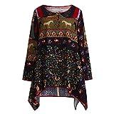 VEMOW Herbst Elegante Vintage Damen Oberteile Lose Blusen Langarm Bluse Casual Täglichen Party Strand Drucken Baumwolle Leinen Tops Shirt(Schwarz, 48 DE/XL CN)