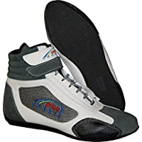PM Sports Adult New Karting//Race/Rally/Track Boots with Synthetic Leather/Suede & Mash panel (White Grey, UK 8/EU 42)