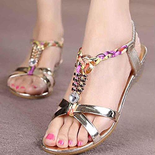 Transer ® Femmes sandales plates en strass d'été chaussures de plage confortables Or