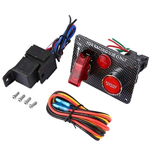 Course automobile 12V Interrupteur d'allumage Panneau de démarrage du moteur Appuyez sur le bouton à bascule LED