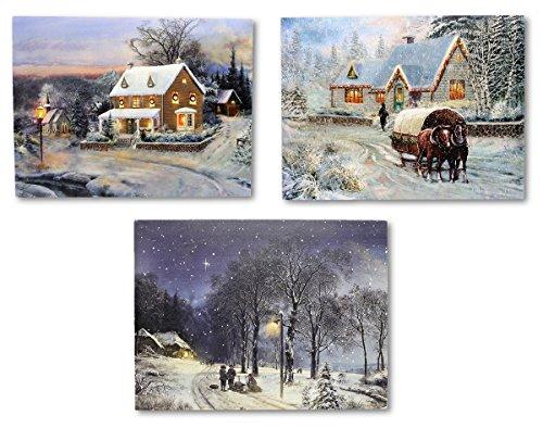 3 LED Wandbilder Winterlandschaft beleuchtet Bild je 40 x 30 cm Leinwand Weihnachten Christmas